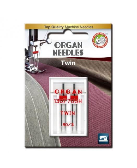 Aiguilles Double ORGAN Taille 80 écaretement 3mm 2pcs
