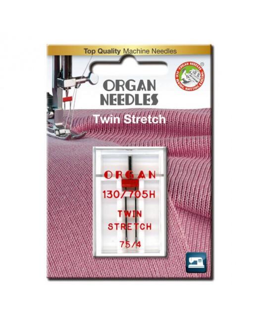 Aiguille Double ORGAN Stretch Taille 75 écartement 4mm 1pcs