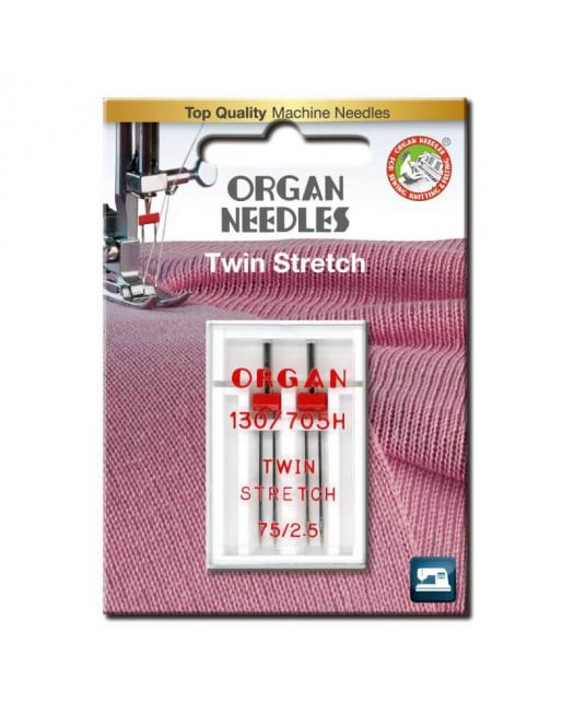 Aiguilles Double ORGAN Stretch taille 75 écartement 2.5mm 2pcs