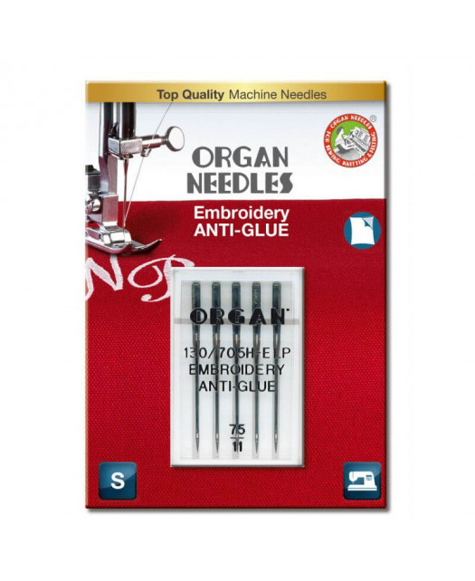 Aiguilles ORGAN Anti-Glue Embroidery (broderie) Taille 75 5pcs